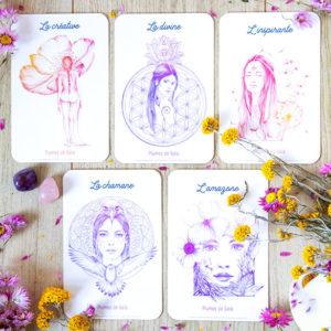 Cartes Sacrées, Créative, Divine, Inspirante, Chamane, Amazone, Plumes de Gaïa